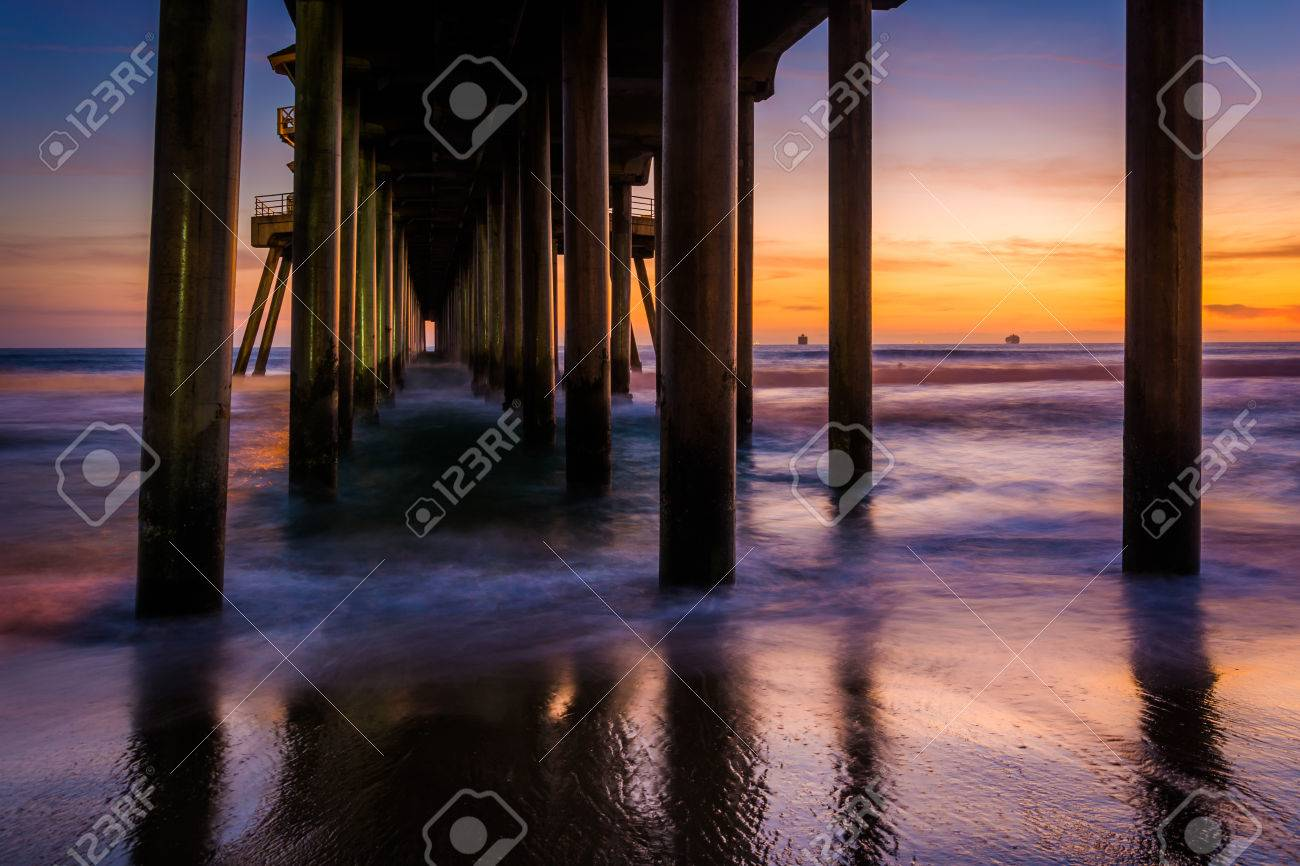 Under The Pier At Sunset In Huntington Beach California Stock Photo Picture And Royalty Free Image Image 37032164