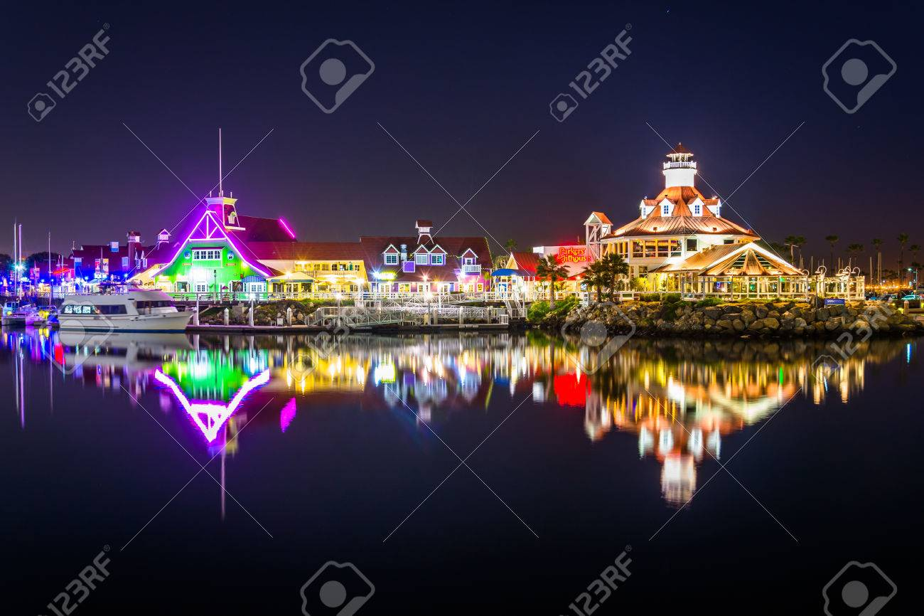 Shoreline Village And Parkers Lighthouse At Night In Long Beach California Stock Photo