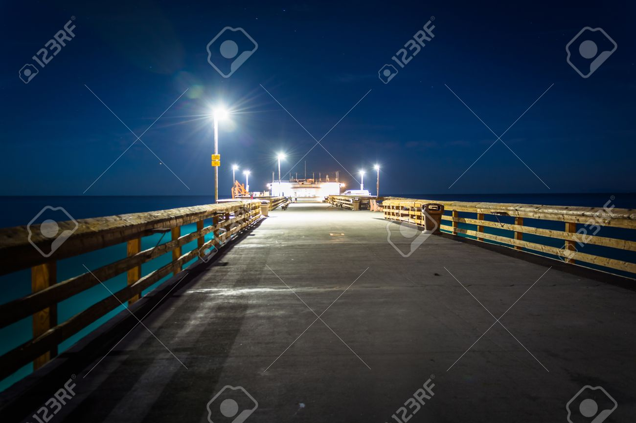 The Balboa Pier At Night In Newport Beach California Stock Photo