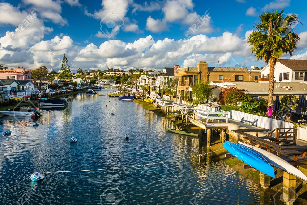 the grand canal on balboa island in newport beach california