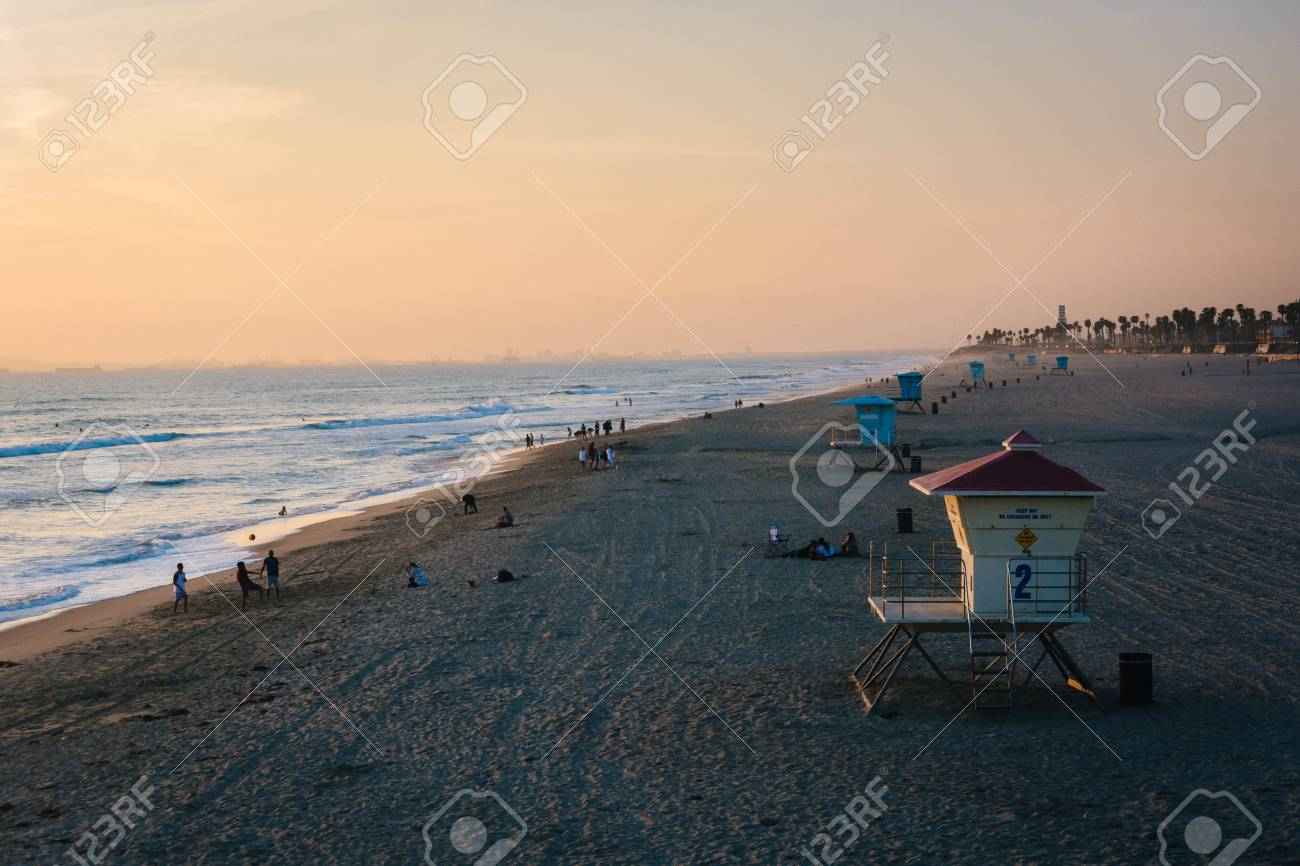 Lifeguard stand on the beach at sunset, in Huntington Beach,