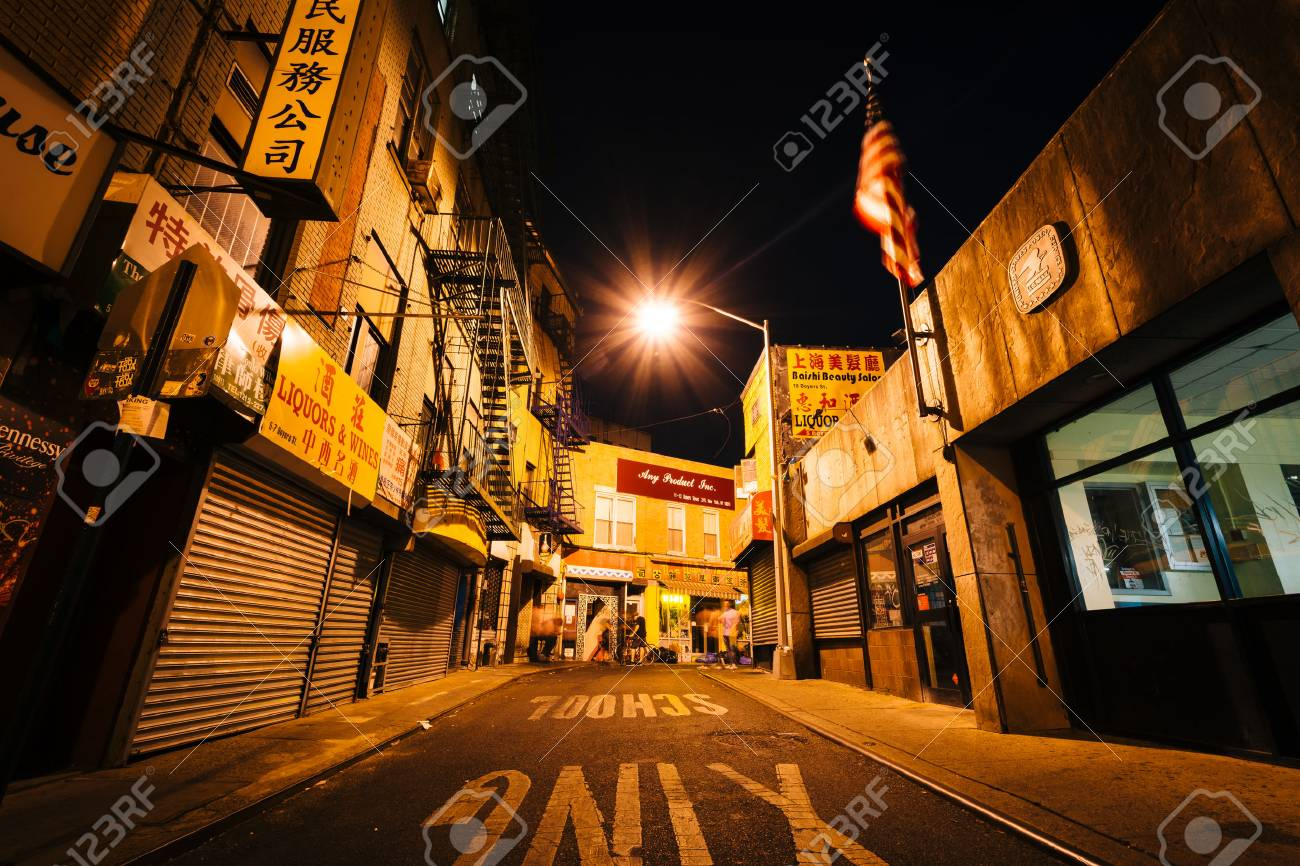 Doyers Street At Night In Chinatown Manhattan New York Stock Photo Picture And Royalty Free Image Image 44940650