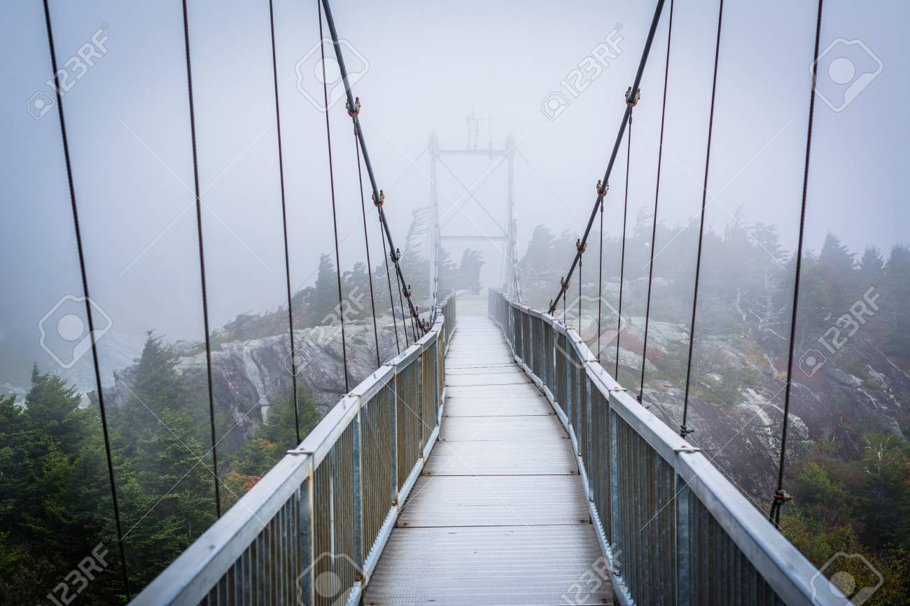 The Mile High Swinging Bridge In Fog At Grandfather Mountain