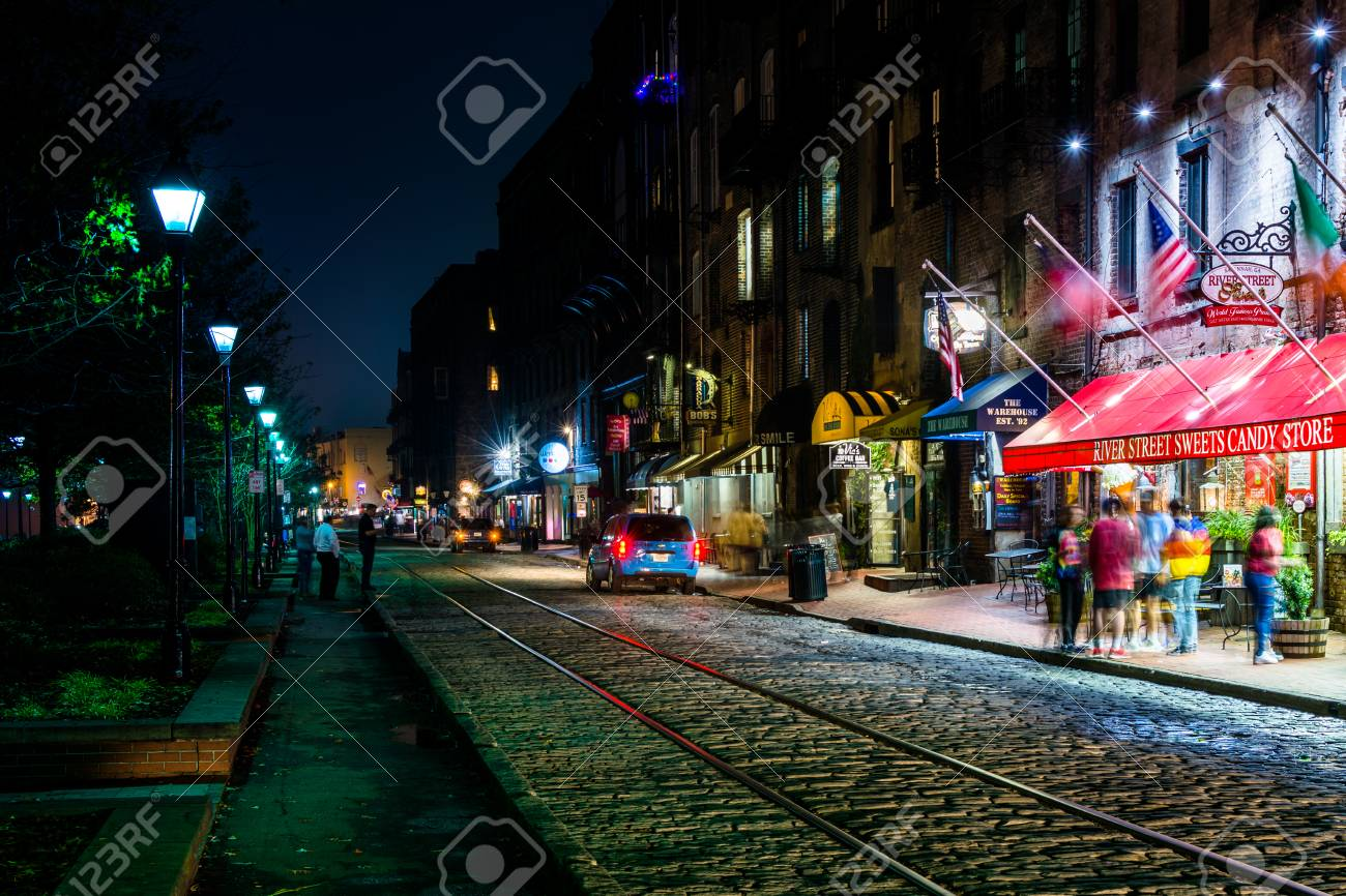 River Street At Night, In Savannah, Georgia. Stock Photo, Picture And  Royalty Free Image. Image 71914894.