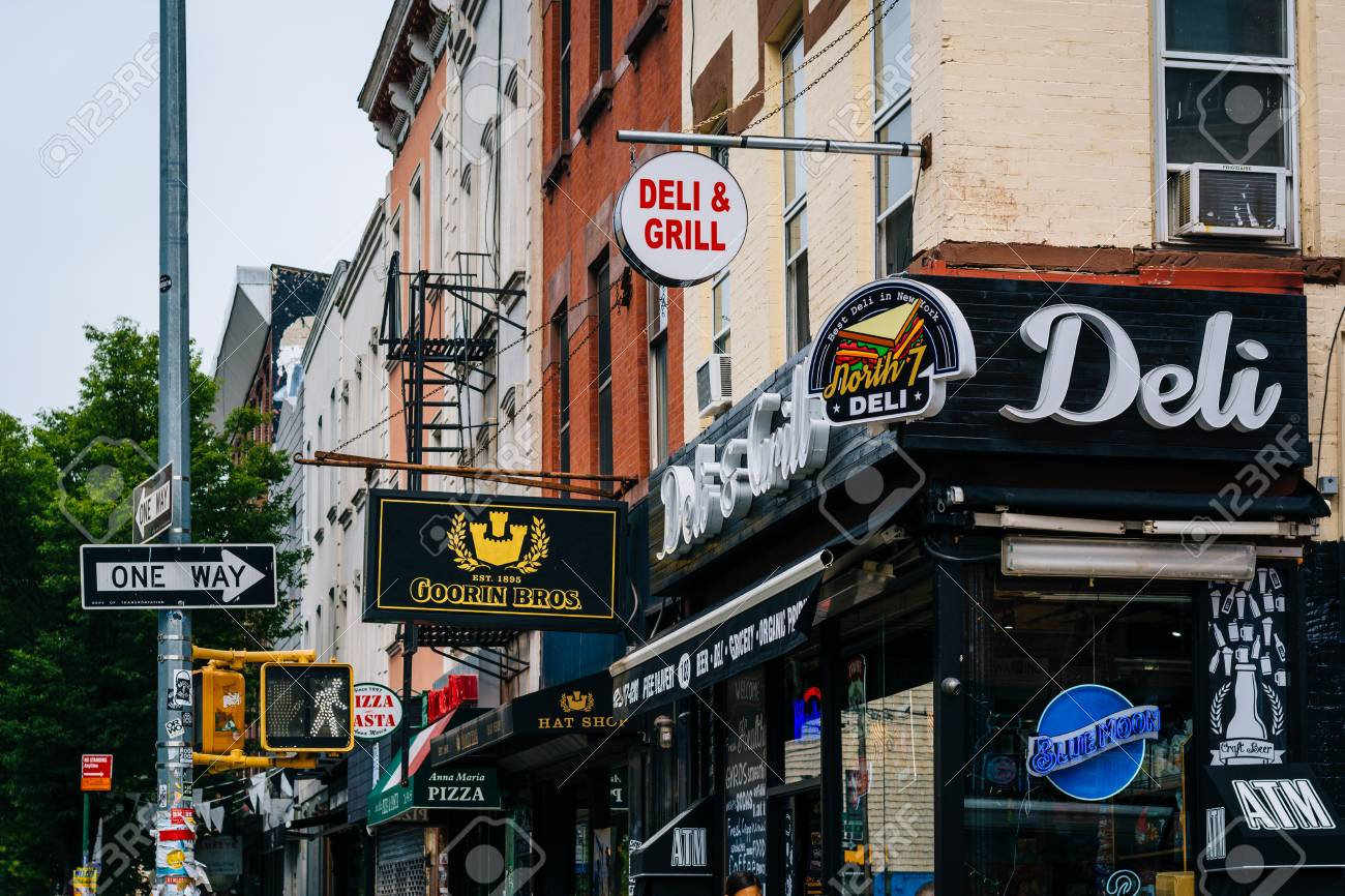 Businesses along Bedford Avenue, in Williamsburg, Brooklyn, New York City. - 104210623