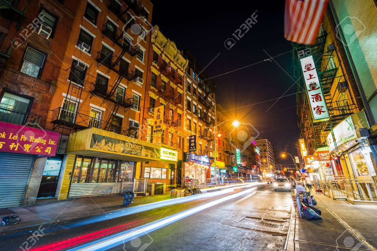 Mott Street At Night In Chinatown In Manhattan New York City Stock Photo Picture And Royalty Free Image Image 104181147