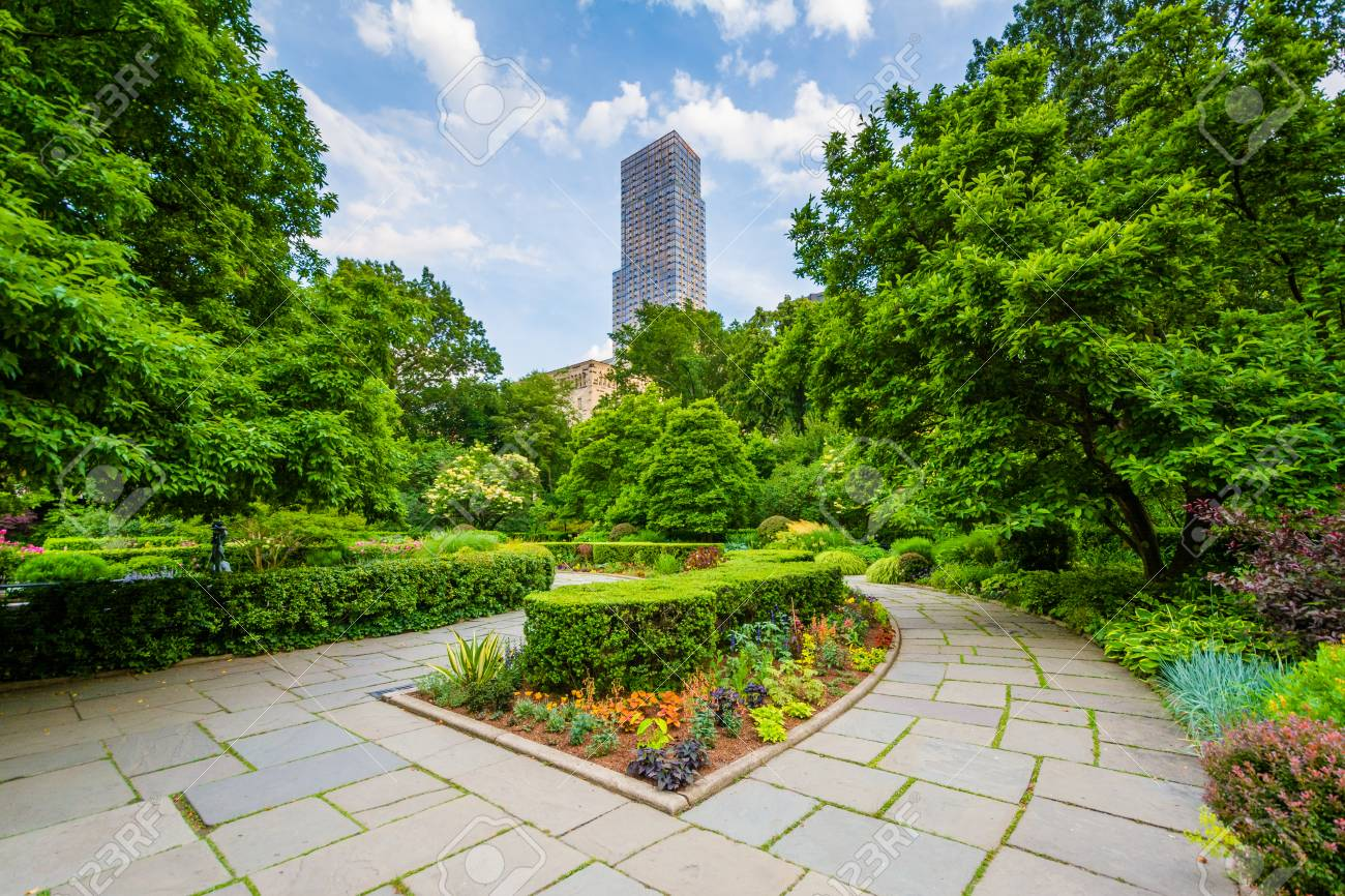 Stock Photo   The Conservatory Garden In Central Park, Manhattan, New York  City