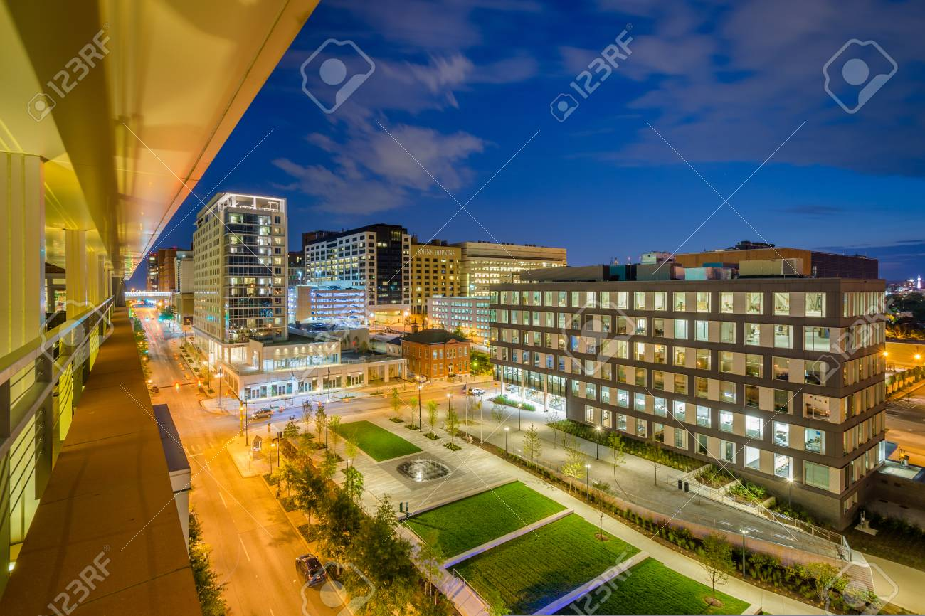 Eager Park and Johns Hopkins Hospital at night, in Baltimore,