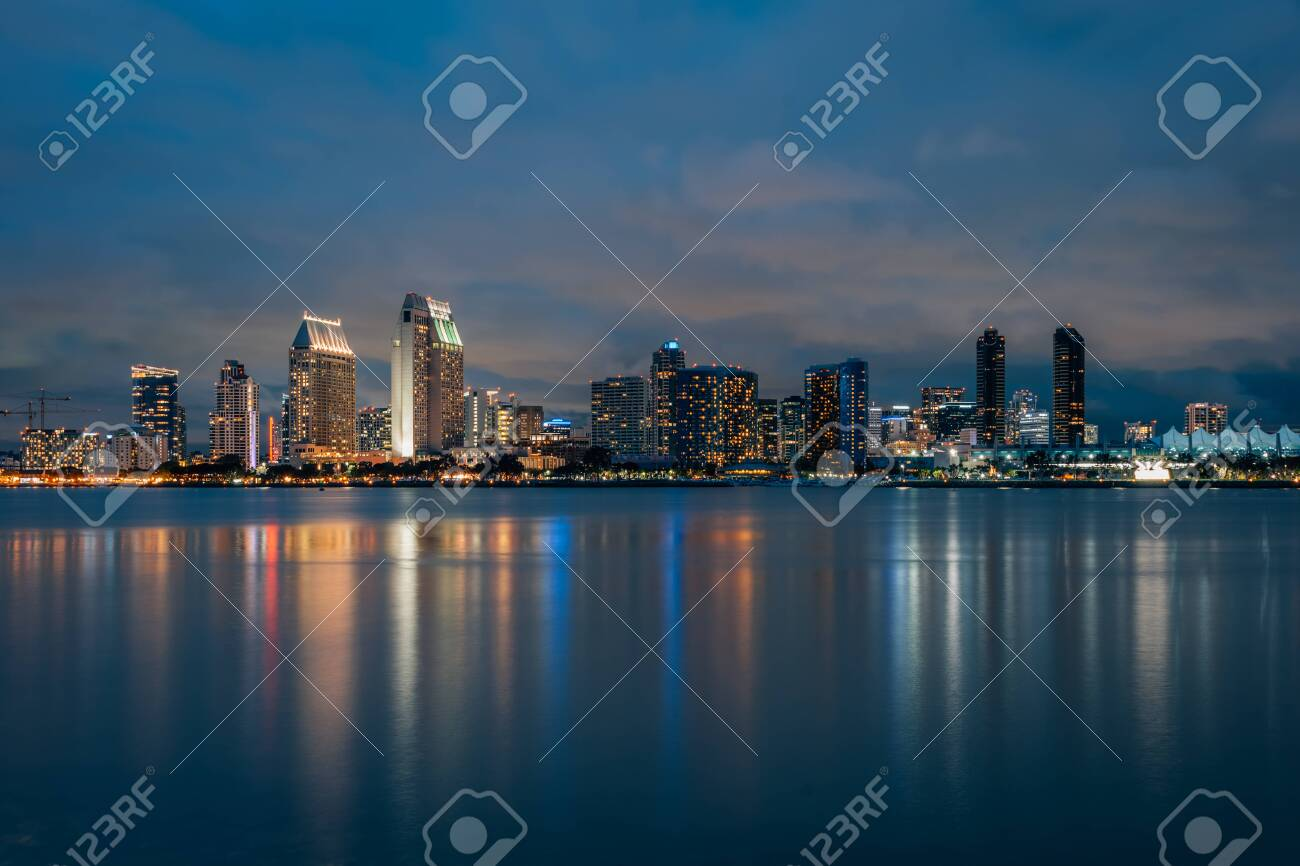 View Of The Downtown San Diego Skyline At Night From Coronado Stock Photo Picture And Royalty Free Image Image 122486548