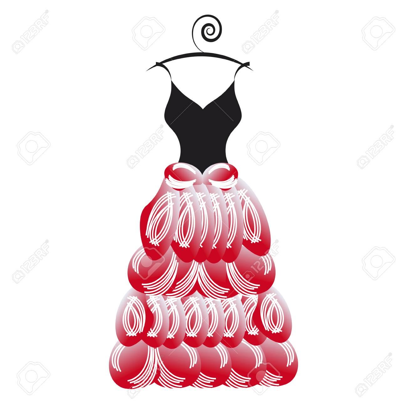 Diseño De Vestido De Novia, Aislado En Un Blanco Ilustraciones ...