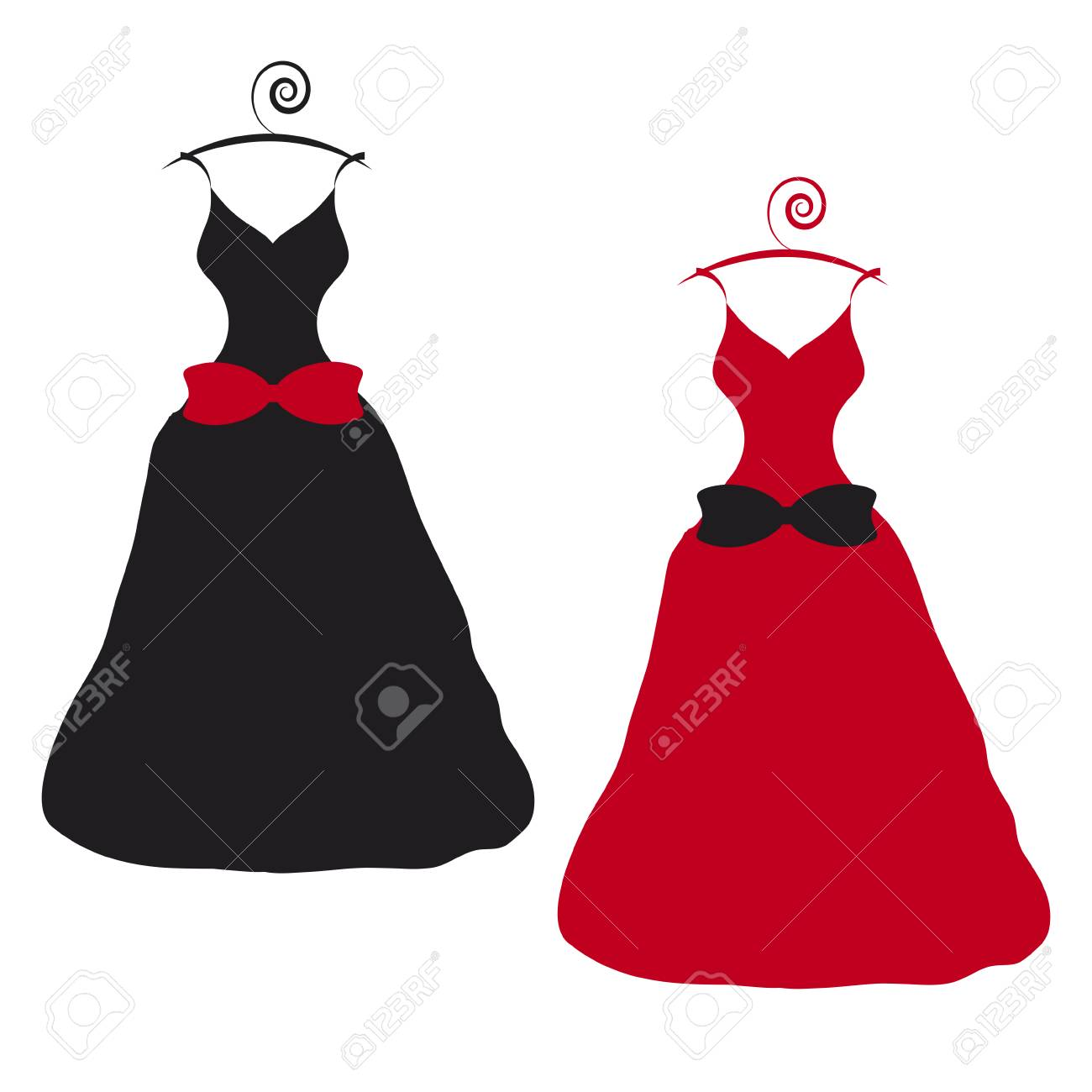 Black And Red Wedding Dress Design Isolated On White Background ...