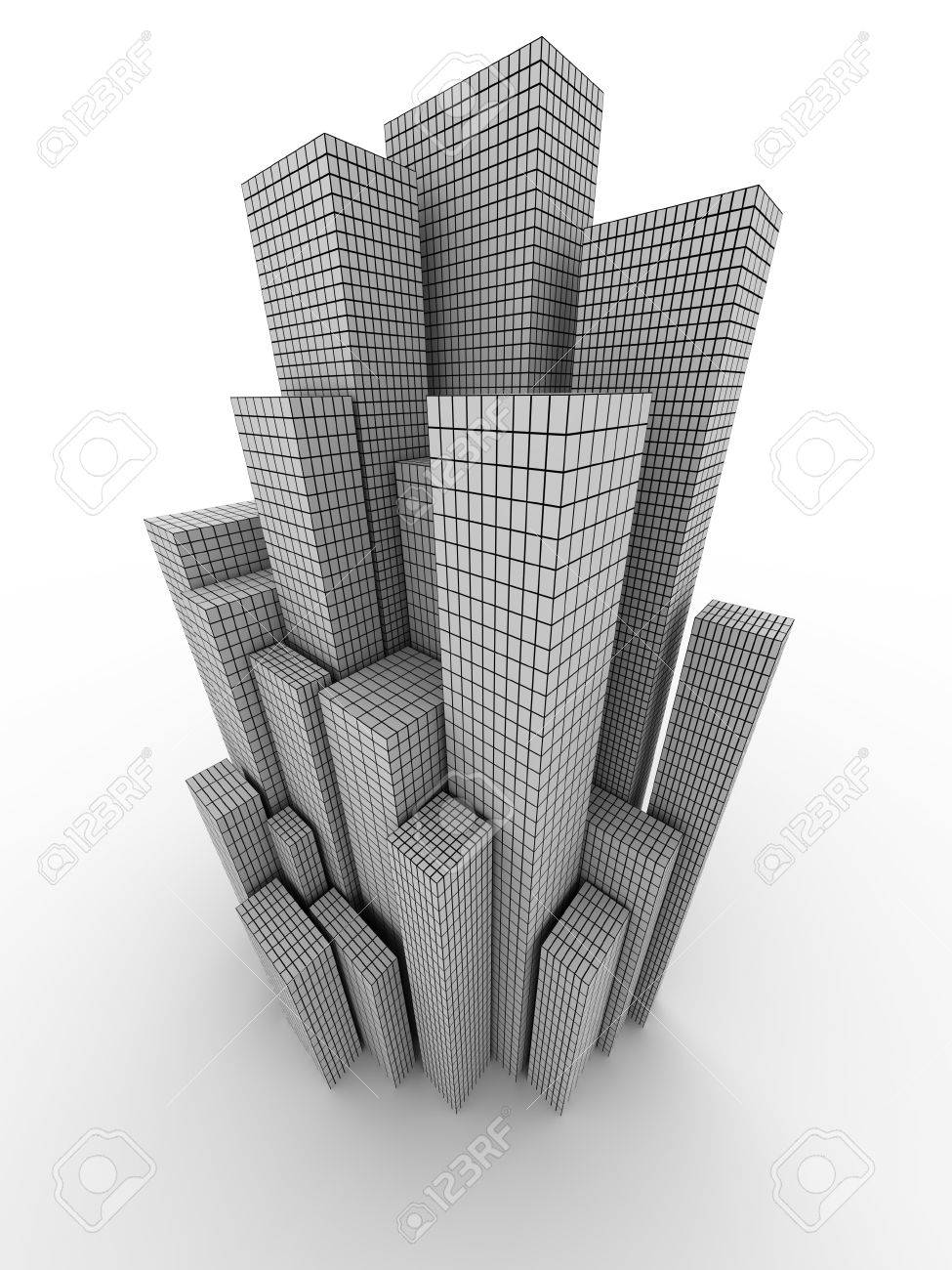Conceptual city with grid (image can be used for printing or web) Stock Photo - 11556581