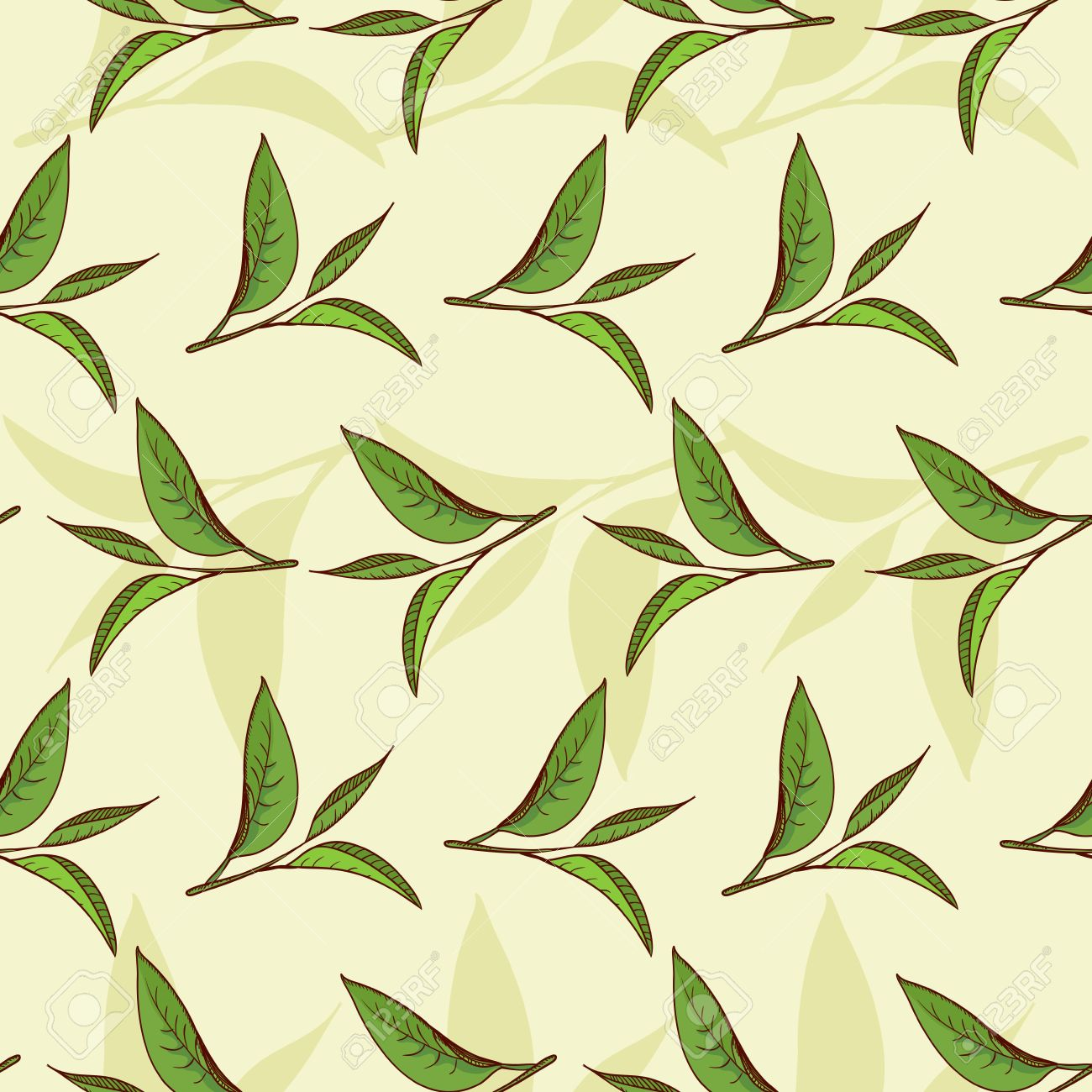 Seamless pattern illustrated nature, tea leaves and high-vitamin diet - 19105020