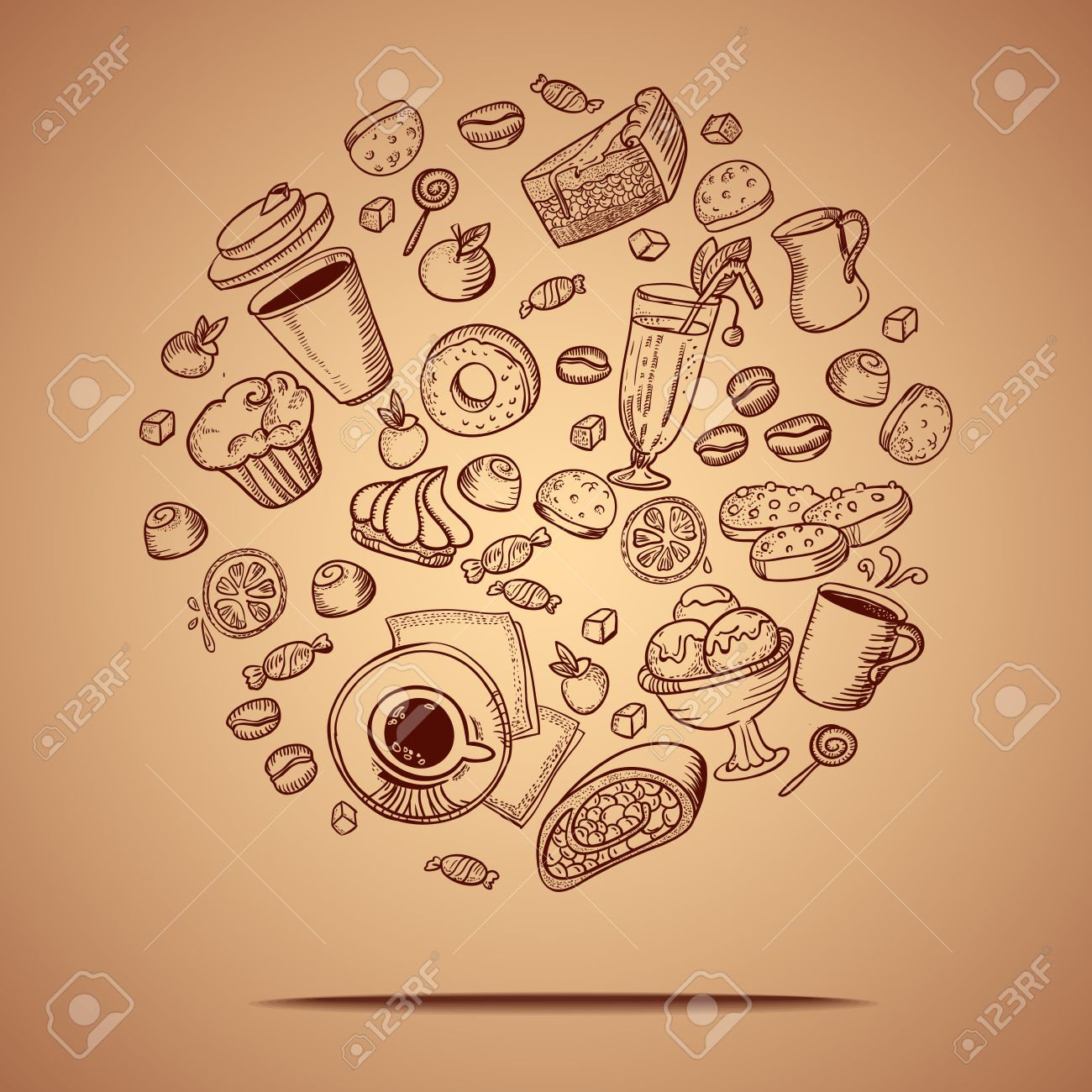 Vector card with coffee and pastry hand drawing icons. - 23321121