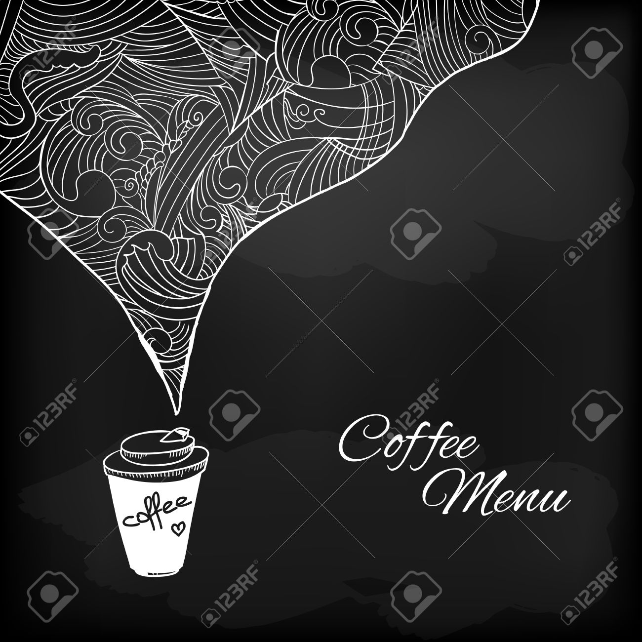Coffee to go chalk drawing Flavored coffee Vector sketch illustration - 30118197