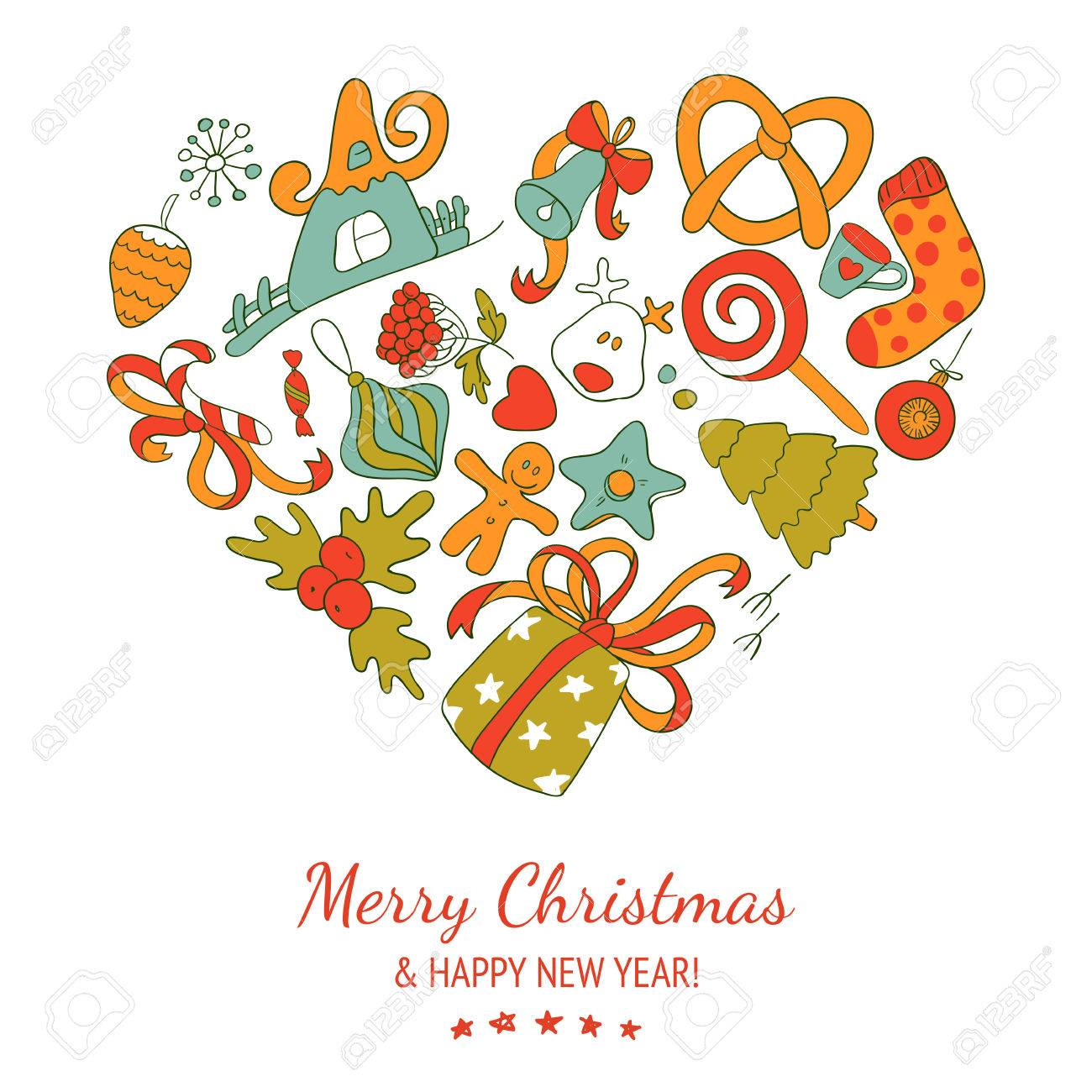 Christmas Heart Vector.Vector Christmas Heart New Year Drawing Background Happy Holidays