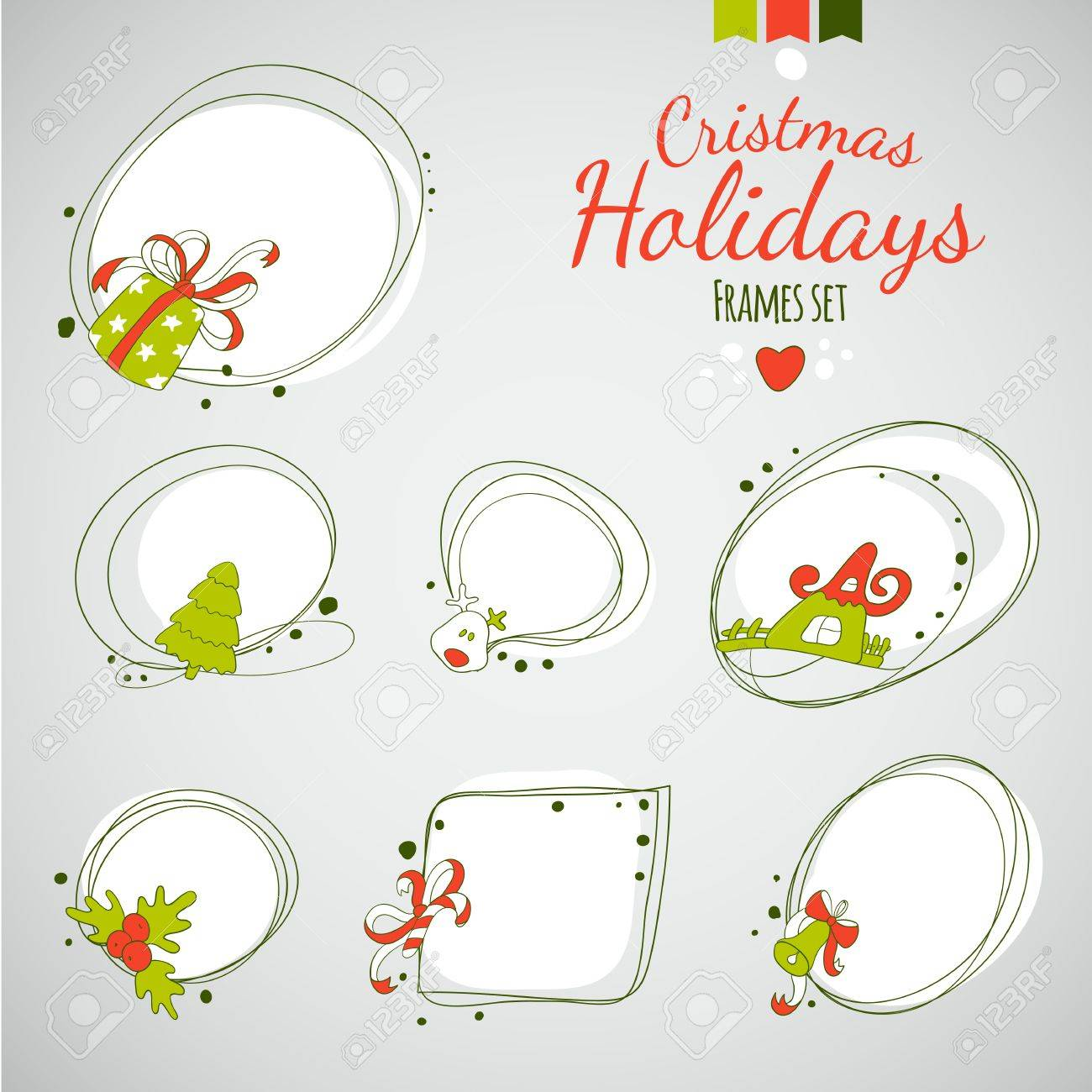 vector vector merry christmas drawing decorvintage new year label set happy holidays hand drawing frames
