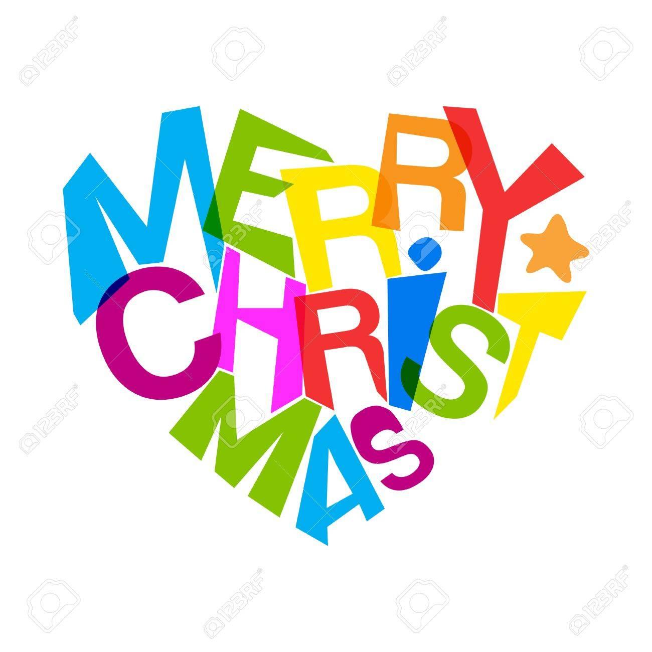 Frohe Weihnachten Typografie Kunst. Herzlichen Glückwunsch Herzform ...