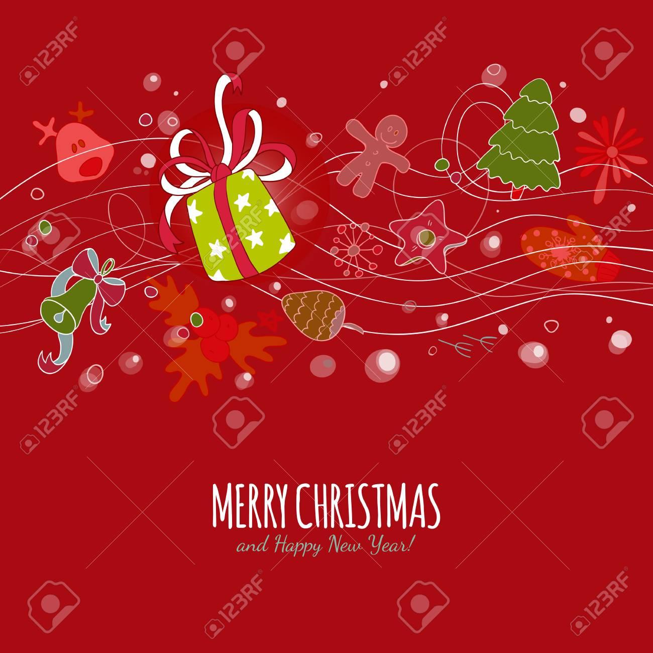 Vektor Frohe Weihnachten Zeichnung Hintergrund. Schöne Weihnachten ...