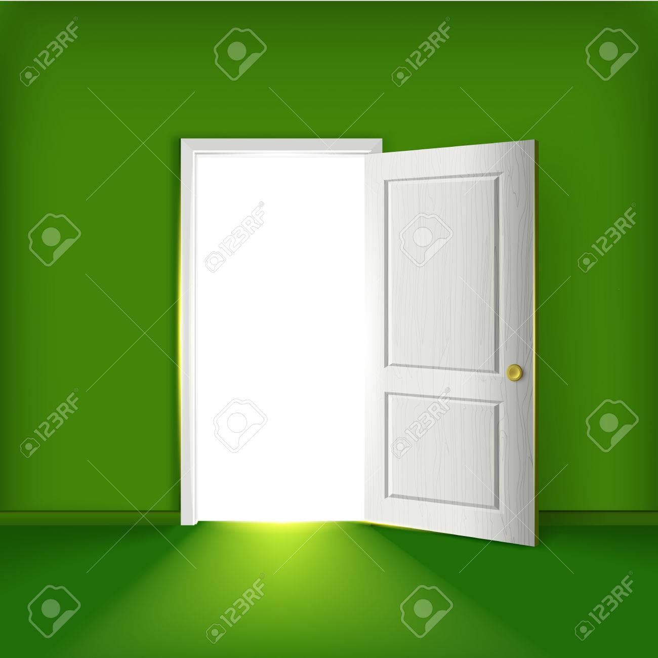 Standard Bild   Vector Offenen Tür Konzept. Vorderansicht Tür. Beleuchtung  Geöffnete Tür In Der Grünen Wand In Einem Leeren Raum.