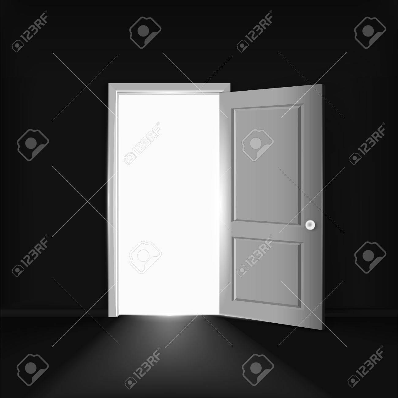 Standard Bild   Vector Offenen Tür Konzept. Beleuchtung Geöffnete Tür An  Der Schwarzen Wand In Einem Leeren Raum. Schwarze Freitag Elemente.