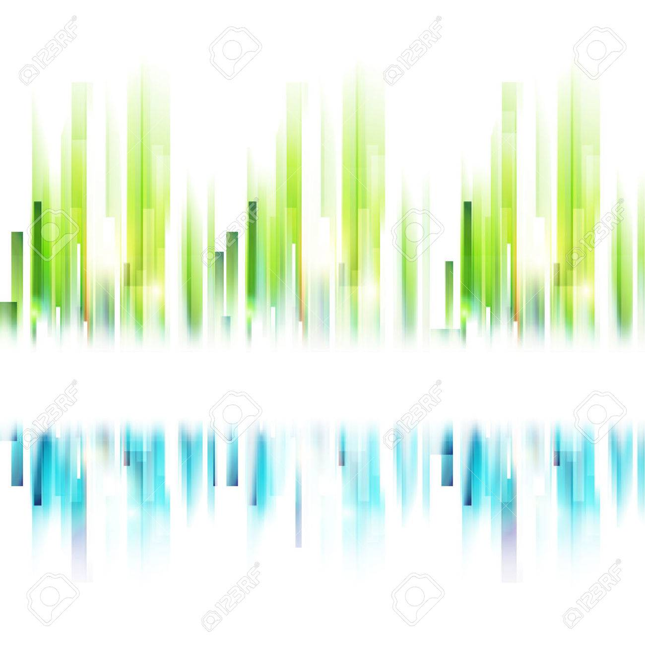 Seamless abstract urban silhouette. Vector ecology background. Blue and green lines with place for text. Abstract landscape concept - 35633803