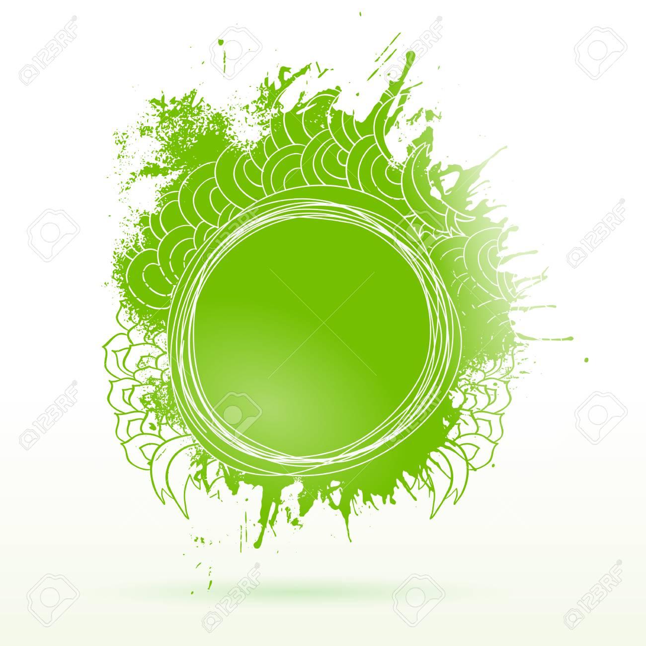 Eco Grüne Tinte Zeichnung Etikett. Spritzt Skizze Aufkleber. Moderne ...