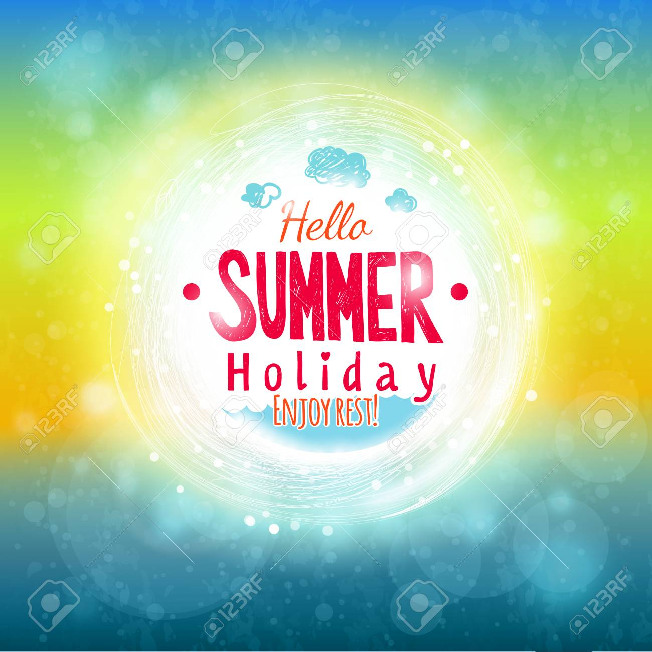 Hello Summer Sky And Sea Drawing Card. Abstract Holiday Label Design.  Invitation Element.