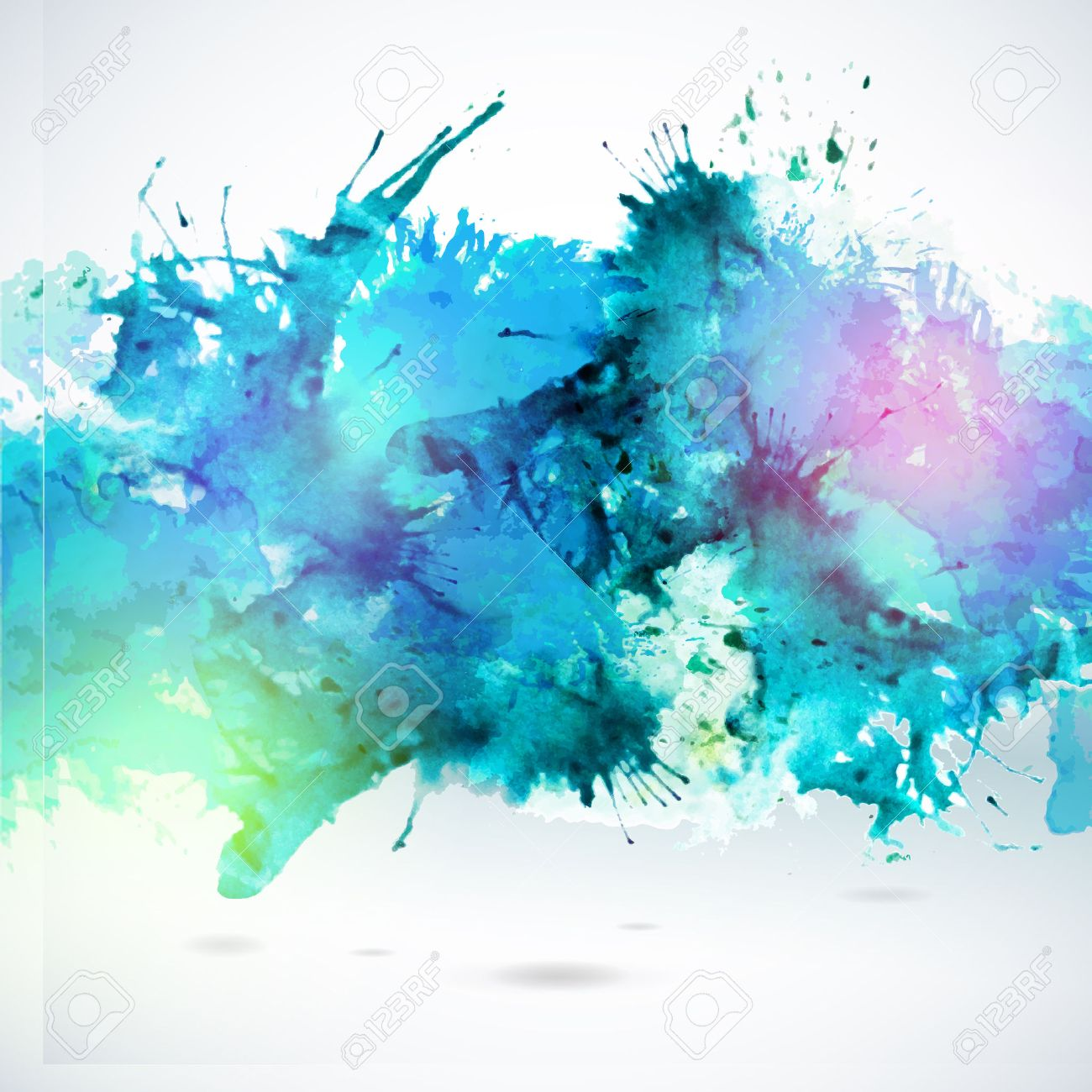 sky blue centered decorative watercolor background vector hand