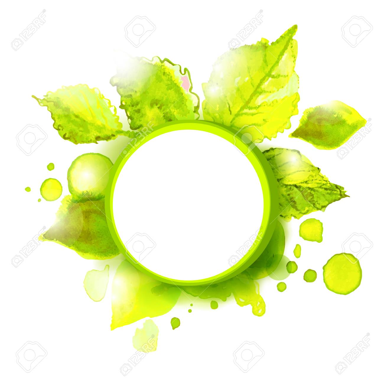 Vector empty label with green summer leaves. Season summer background for outdoor advertising. - 40975173