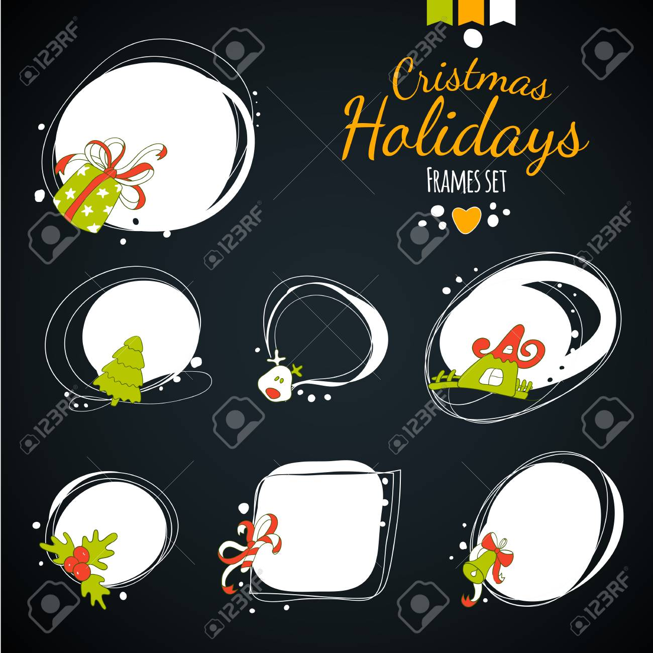 merry christmas drawing decorvintage new year label set happy holidays hand drawing frames