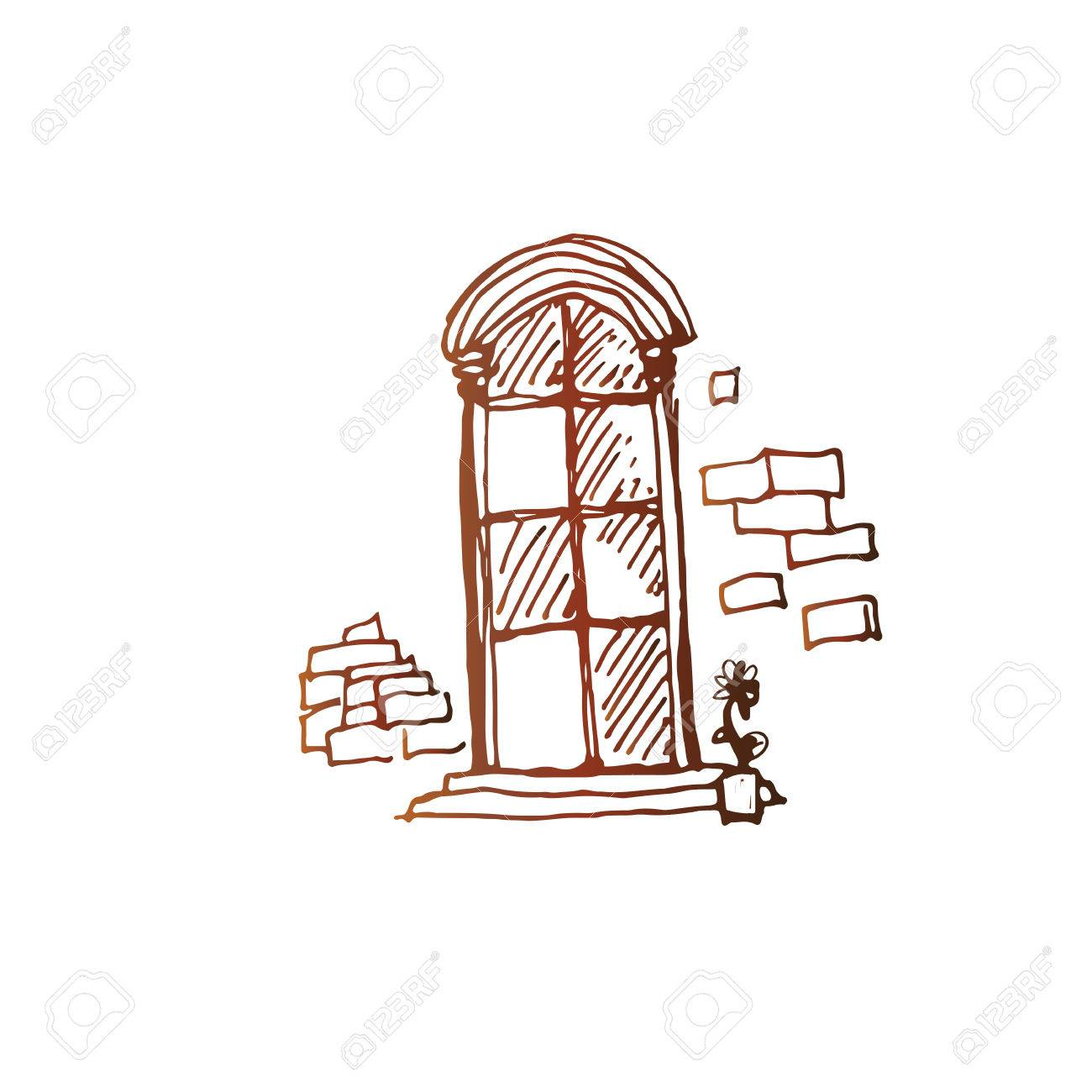 Old Style Window Simple Vector Sketch Linear Pen Drawing Stock