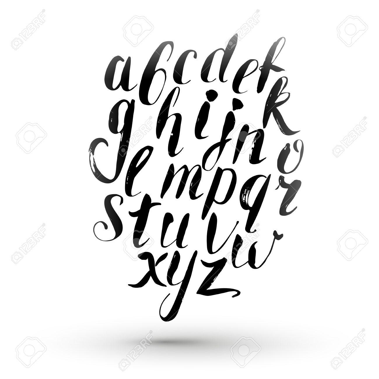 Inkt Kalligrafie Engels Alfabet Vector Geïsoleerd Hand Tekenen