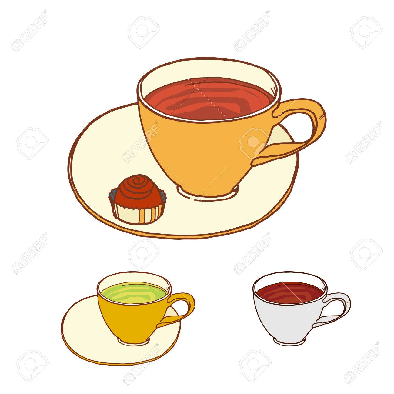 Coffee And Tea Cup With Candy At Saucer Vector Sketch Color Royalty Free Cliparts Vectors And Stock Illustration Image 46646899