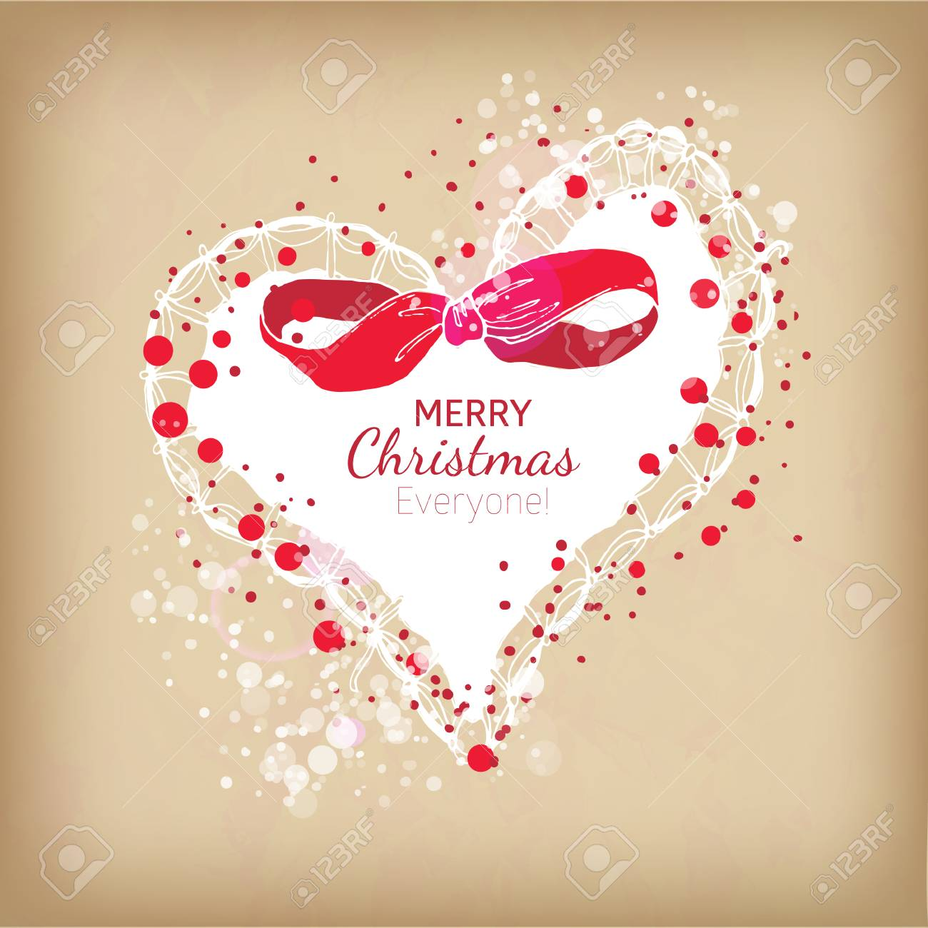 Christmas Heart Vector.Red And White Colors Christmas Heart With Snowflakes Decorative