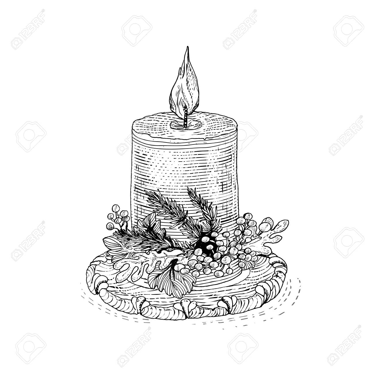 ink drawn candle for gift design vector vintage engraving sketch