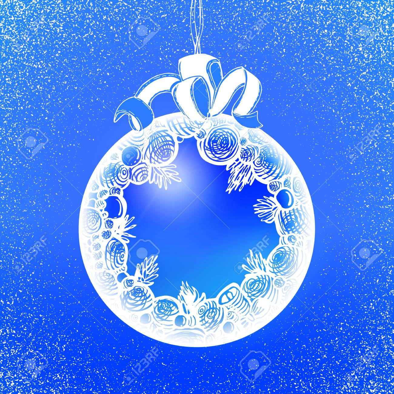 holidays sphere label at blue backdrop abstract vector xmas background cute new year banner
