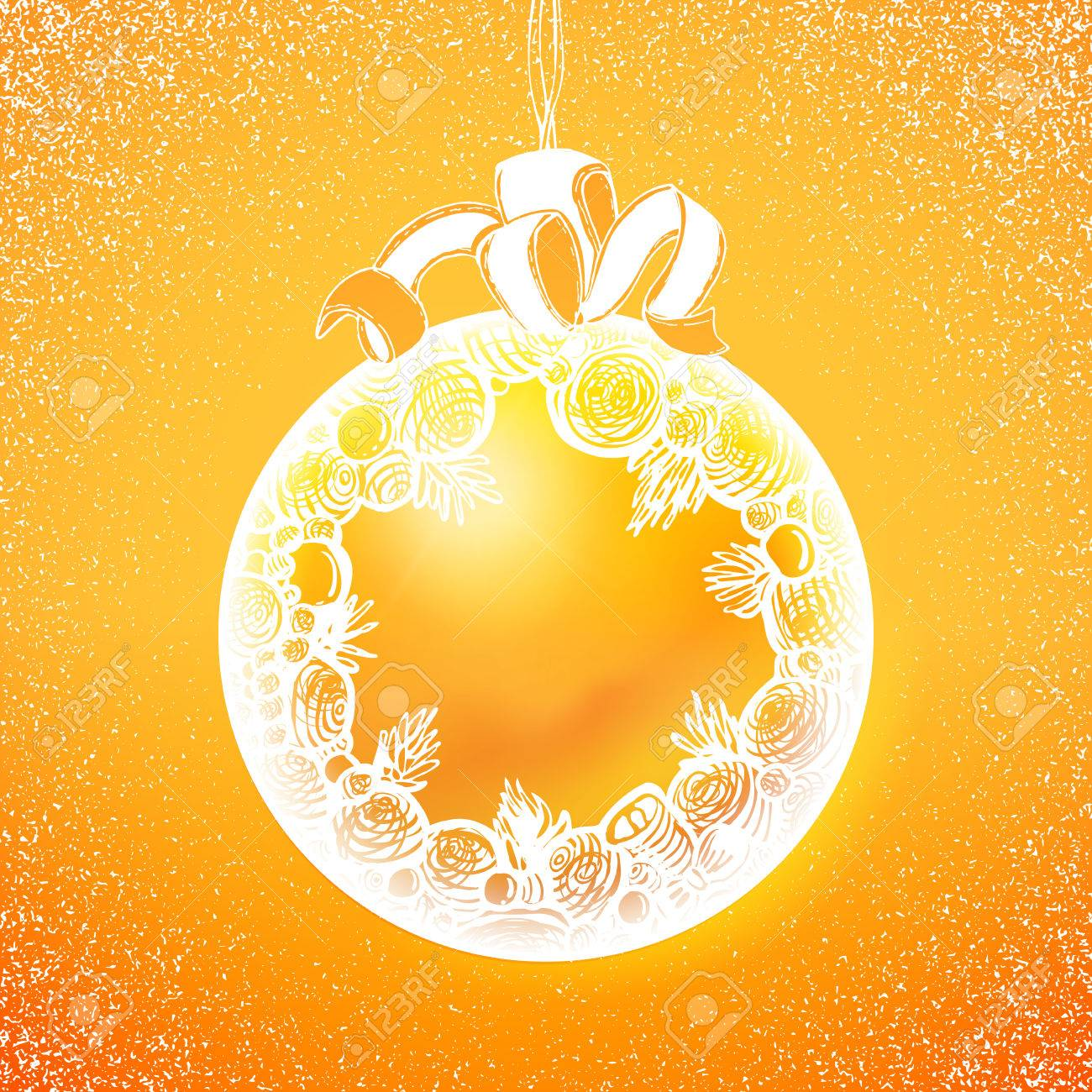 holidays sphere label at yellow backdrop abstract vector xmas background cute new year banner