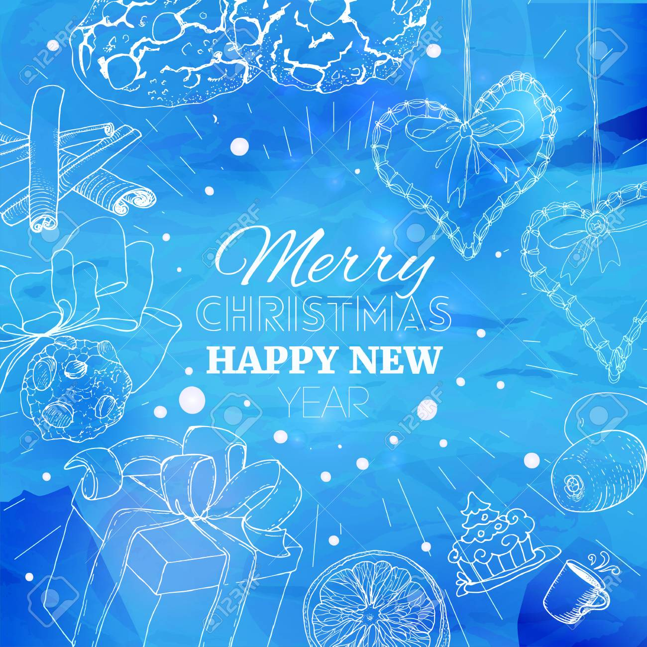 blue christmas card with linear sketch illustrations at old paper new year banner background
