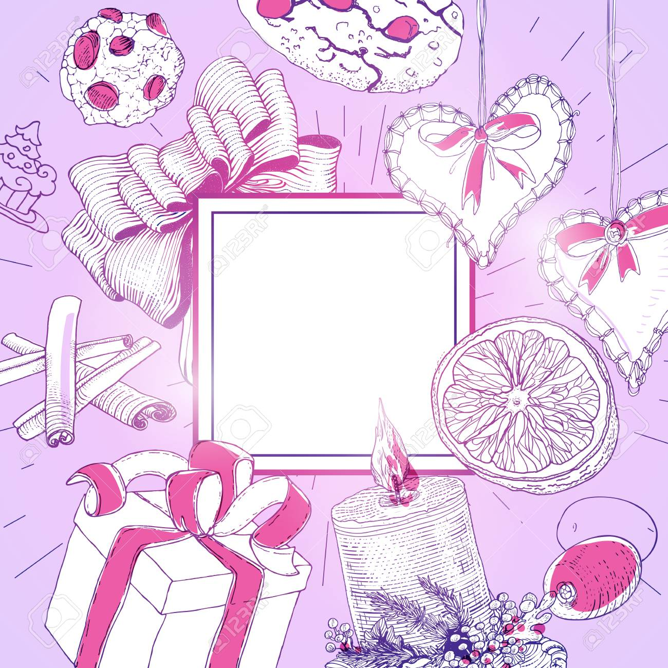 Tarjeta De Navidad De La Vendimia Con Ilustraciones De Dibujo Lineal