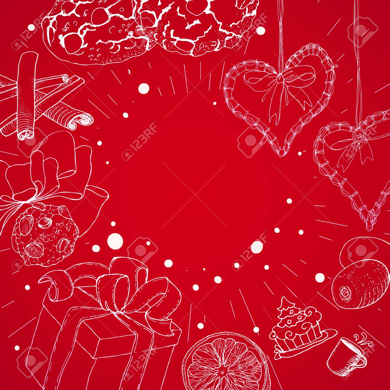 red christmas background with linear sketch illustrations at old paper new year banner or greetings