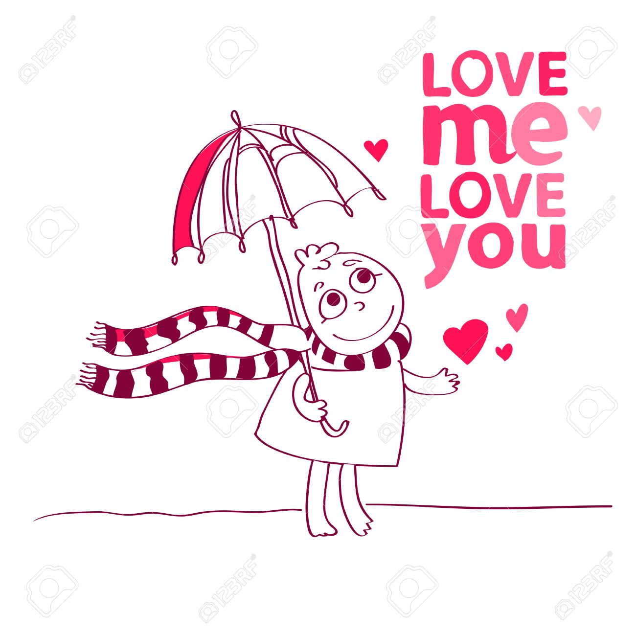Charming Illustration Of A Cute Character Is Saying Love Me Love You And Love Me.  Cute