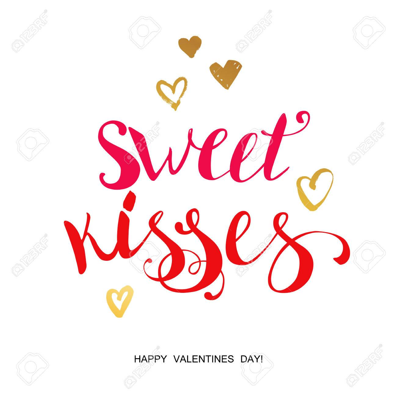 Sweet Kisses Lettering For Valentines Day Vector Collection Cards