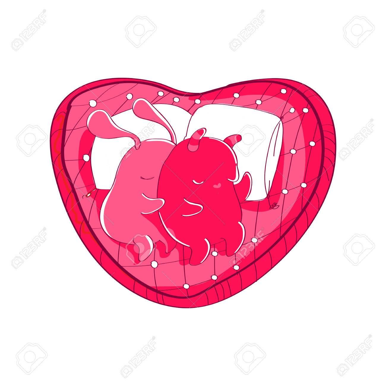 Deux Couples De Couchage Caracteres Ufo Mignons Avec Deux Coeurs