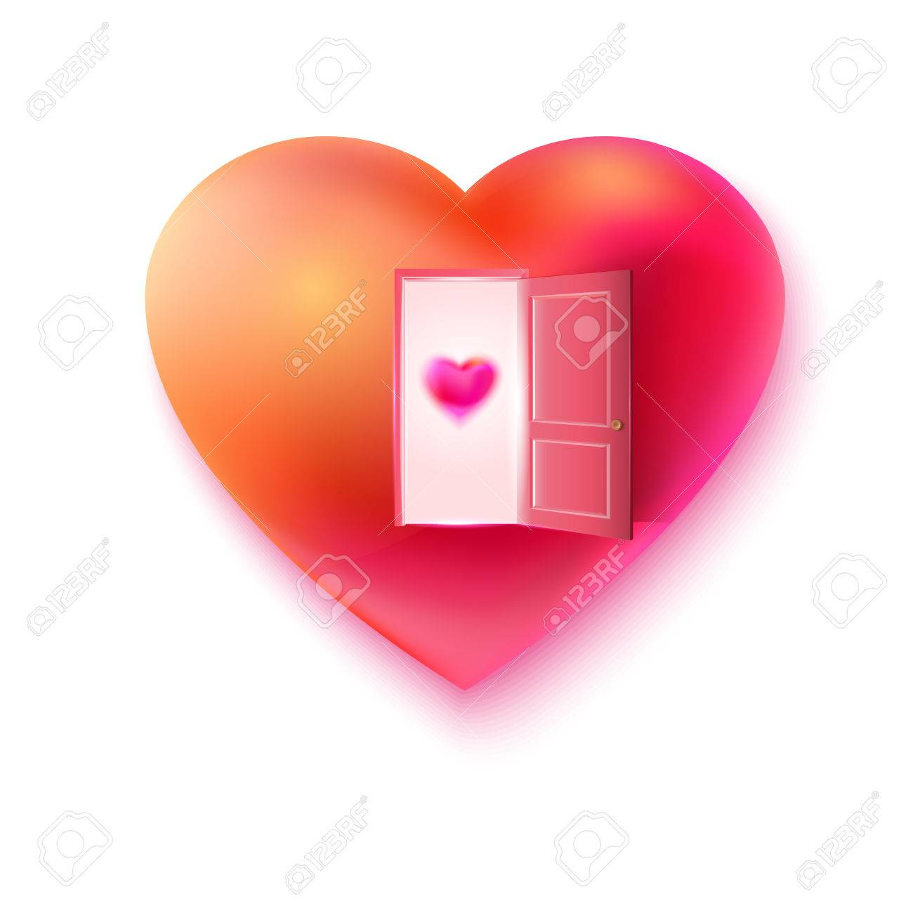 Heart With Open Door And Small Heart At The Door. Love Invitation ...
