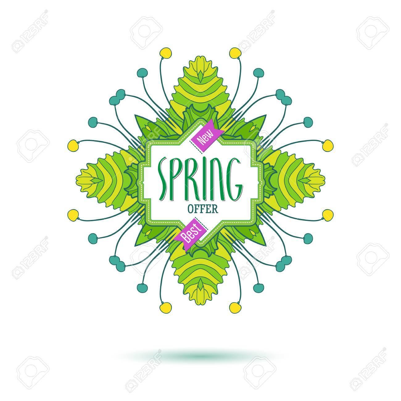 Fresh colors new spring offer banner. Spring floral frame design..