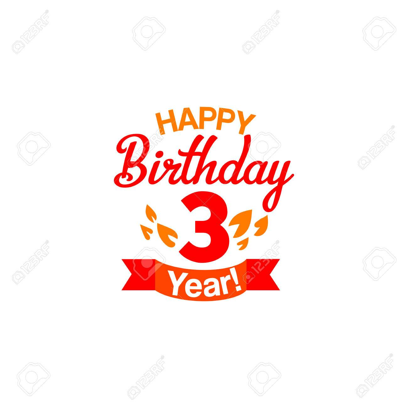 Vintage Happy Third Birthday Card Vector Typography For Three
