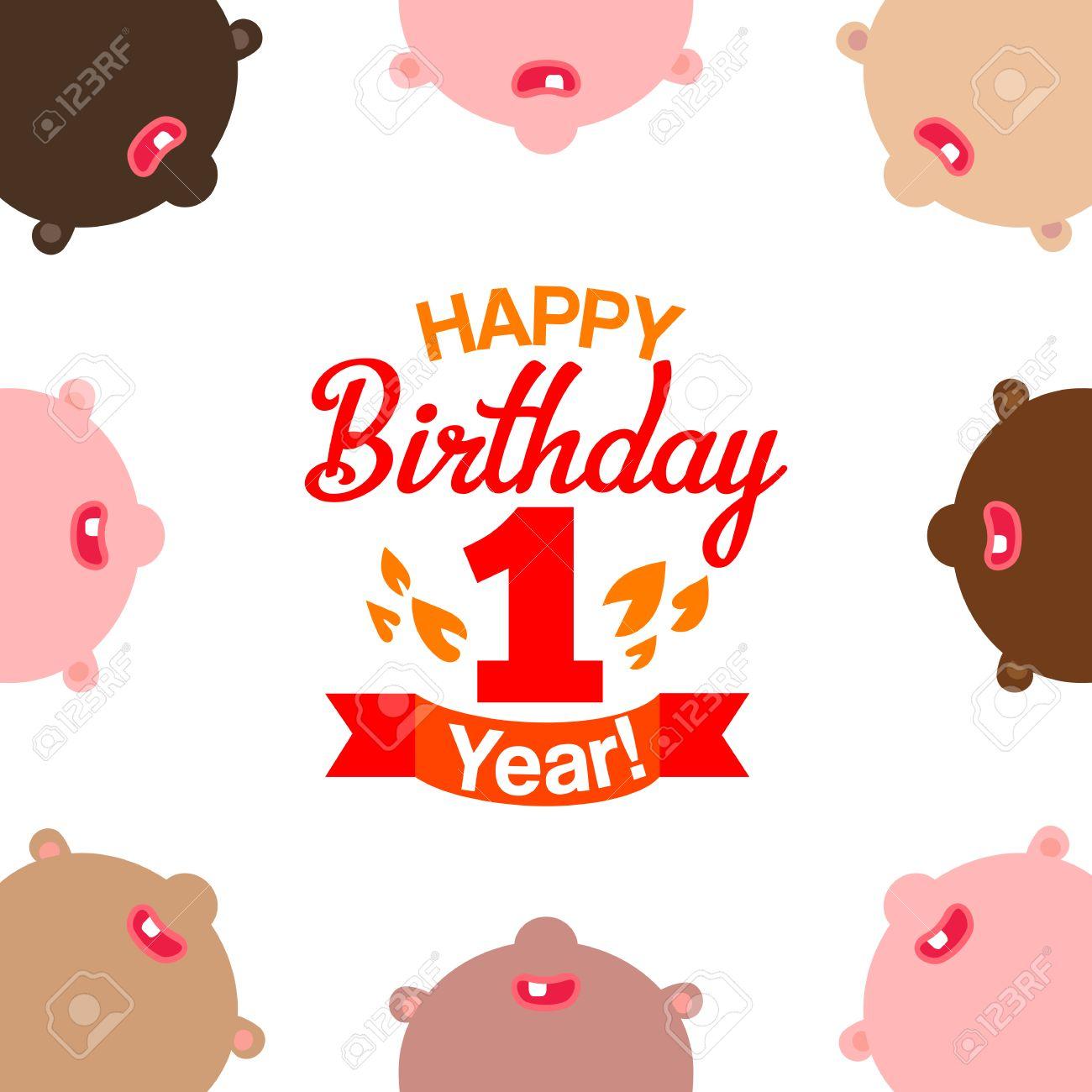 Erste Alles Gute Zum Geburtstag Grußkarte Mit Typografie Und Kinder ...