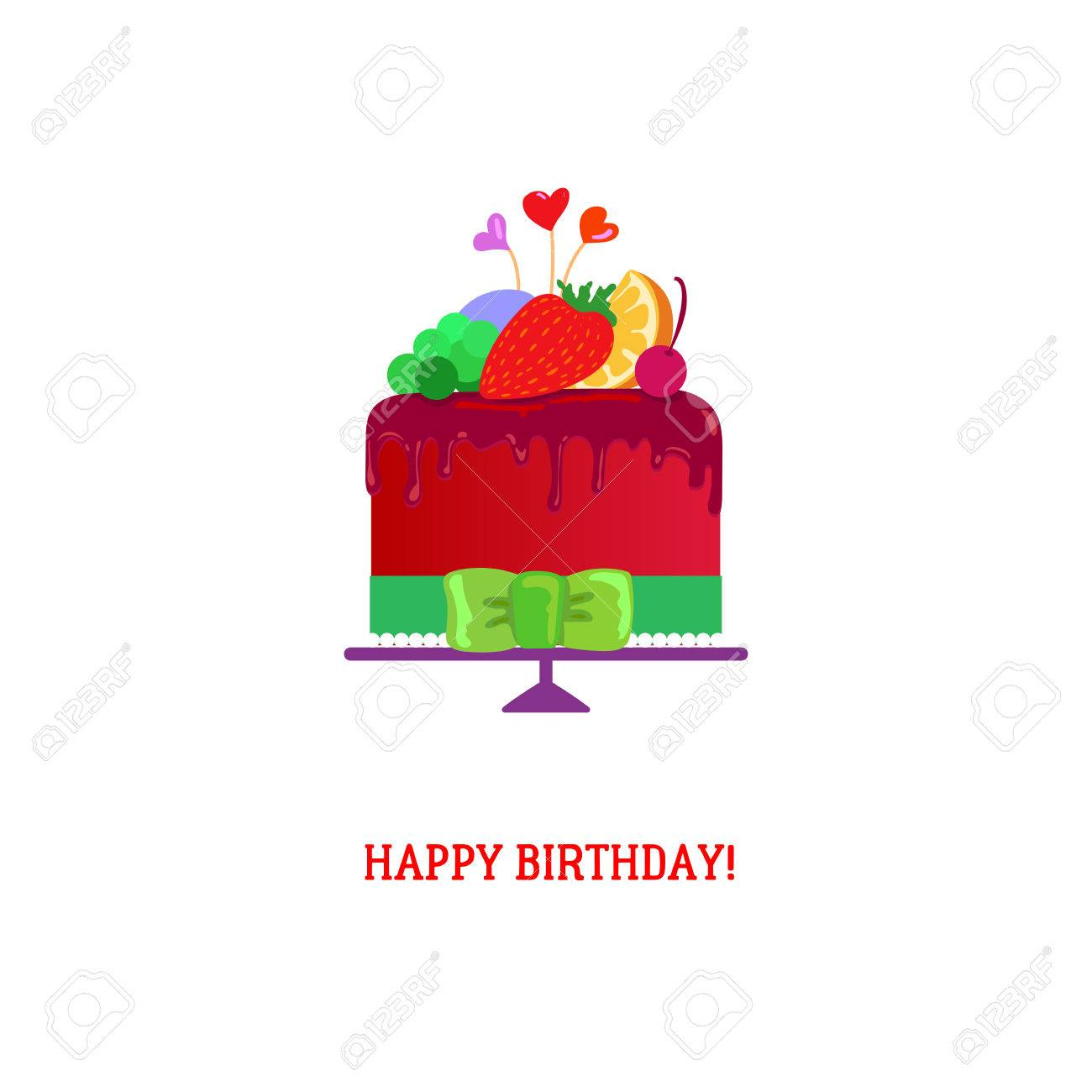 Happy Birthday Cake With Chocolate And Fruits Tasty Vector Illustration