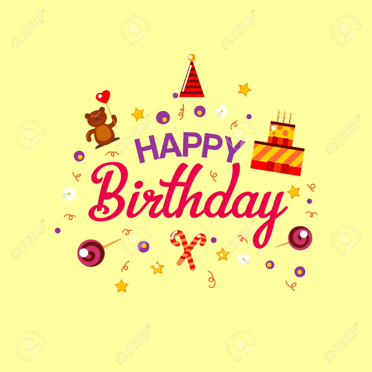 Happy Birthday Gift Card Cake And Toys Vector Illustration Kids